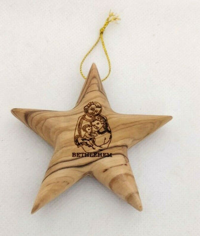Hand made Olive Wood Star of Bethlehem Ornament with engraved Holy Family