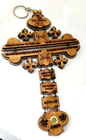 The Lord's Prayer Cross ( Our Father Prayer ) Hand made from Olive Wood