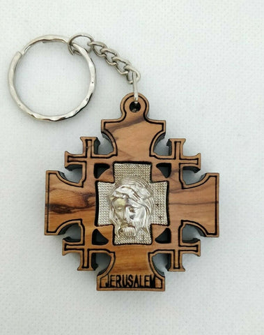 Hand Made Olive Wood Jerusalem Cross,Silver Jesus Face Key ring