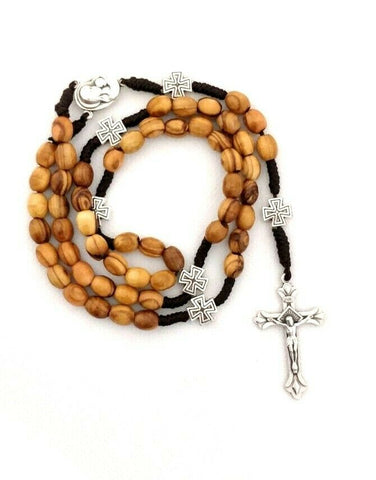 Handmade Olive Wood Strong Corded Rosary Beads with Jerusalem Soil. Please read description