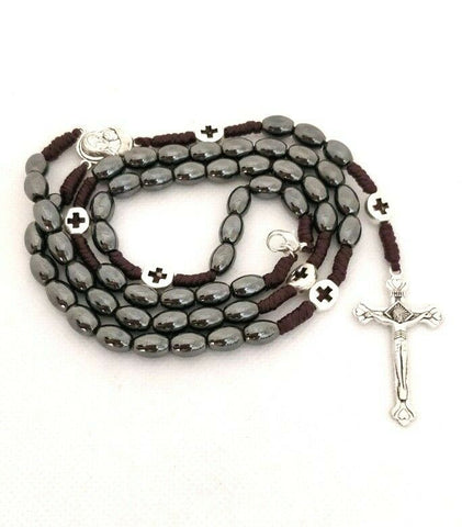 Handmade Natural Hematite Stone strong corded Rosary with Jerusalem soil