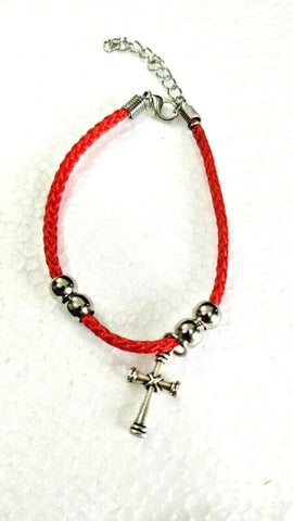2x Hand made Red rope Christian bracelet with Zinc Cross, made in Bethlehem
