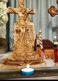 Master Piece Hand Crafted Olive Wood Jesus Crucifixion Statue, With Scripture of (John 3:16). Please read full description.