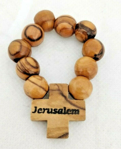 Hand Crafted Large Olive Wood Finger Rosary Prayer Large Beads, Hand Carved in Jerusalem, Holy Land