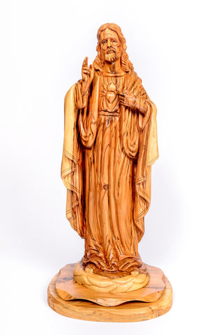 Hand carved olive wood Sacred Heart Of Jesus large Statue from The Bethlehem Nativity Group (TBNG) / www.tbng.co.uk
