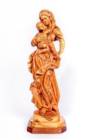 Hand carved olive wood Mother Mary & Baby Jesus  large Statue from The Bethlehem Nativity Group (TBNG) / www.tbng.co.uk