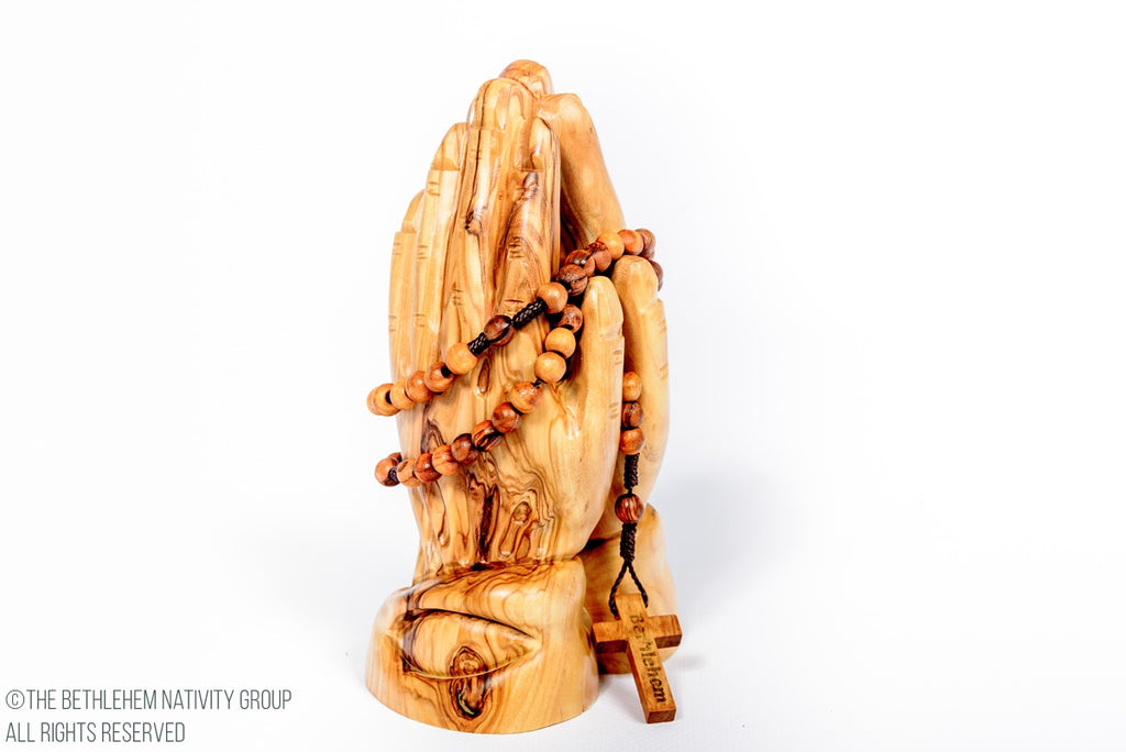 Beautiful Hand Carved Olive Wood Praying Hands With A Free Rosary