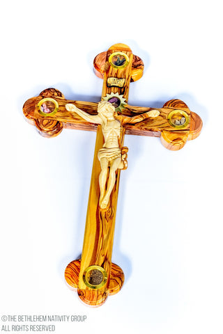 Hand Made Carved Olive Wood Crucifix with Relics / www.tbng.co.uk