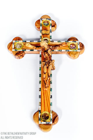 Hand Made Olive Wood & Mother Of Pearl Cross / www.tbng.co.uk