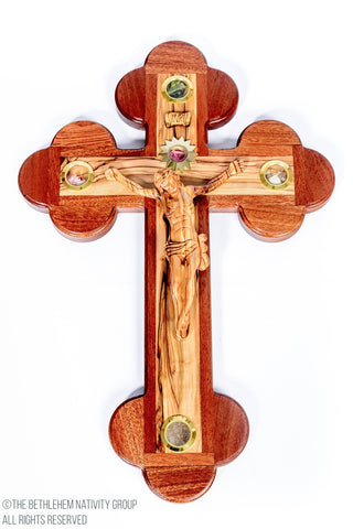 Hand Carved Olive Wood & Mahogany Wood Cross / www.tbng.co.uk