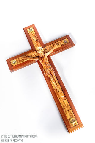 THE BETHLEHEM NATIVITY GROUP - LATIN HAND CARVED OLIVE WOOD CRUCIFIX EMBEDDED WITH MAHOGANY WOOD WITH 5 HOLY LAND RELICS