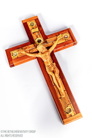 Hand Carved Olive wood & Mahogany wood Latin Crucifix with Relics