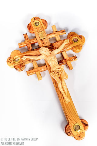 THE BETHLEHEM NATIVITY GROUP (TBNG) HAND CARVED JERUSALEM CROSS OLIVE WOOD CRUCIFIX WITH 5 HOLY LAND RELICS. WWW.TBNG.CO.UK