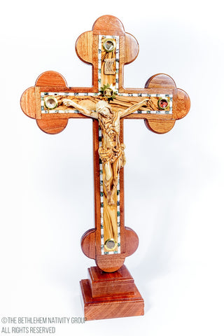 Olive Wood, Mother Of Pearl, Mahogany Wood Standing Crucifix with base