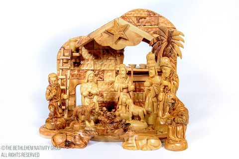 Hand Crafted Individual Olive Wood Musical Nativity Set / www.tbng.co.uk