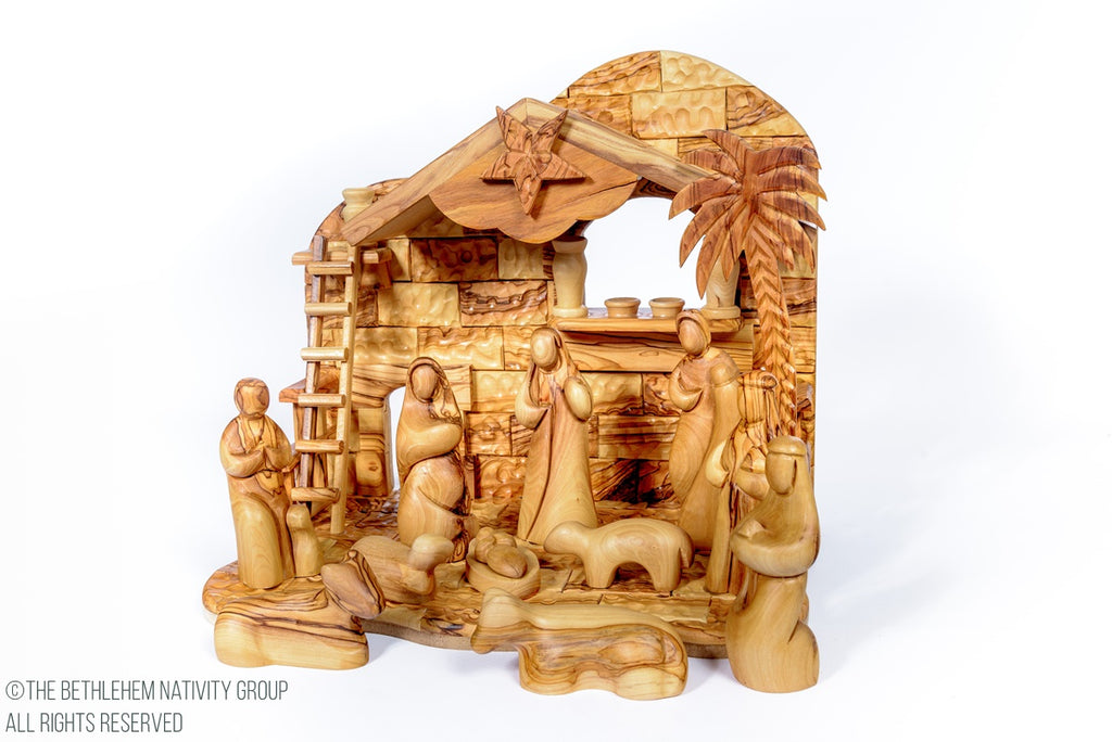 12 Piece Hand Carved Olive Wood Faceless Musical Nativity Set The