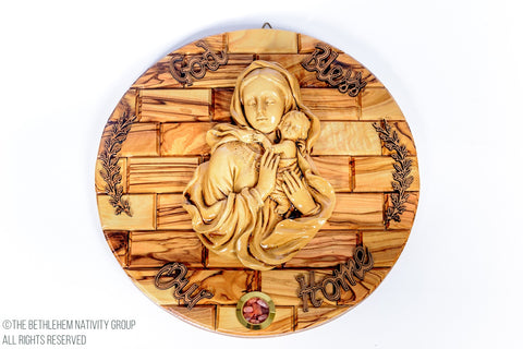 Mary & Jesus Olive Wood Plaque / www.tbng.co.uk