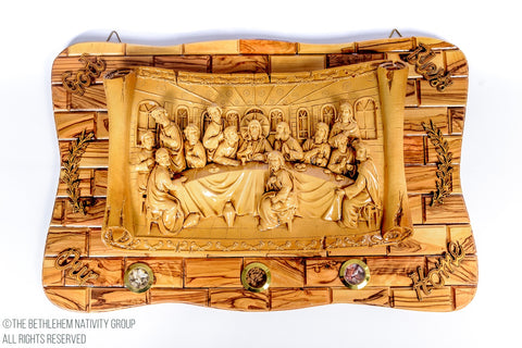 Hand Made Large Last Supper Olive Wood Wall plaque with Ceramic Last Supper Clay