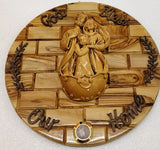 Hand made Olive Wood Plaque With Ceramic Holy Family Water& Frankincense Glass