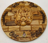Hand Made Olive Wood Wall Plaque with Ceramic Holy Family- Frankincense Glass