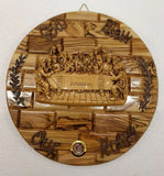 Last Supper Olive Wood Wall Plaque With Ceramic Centre piece-Frankincesene Glass