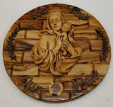 God Bless Our Home Olive Wood Wall Plaque With Blessed Mary&Baby Jesus Ceramic