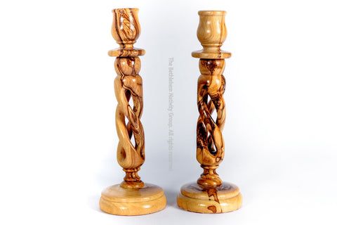 Olive Wood Candle Holders Sticks from The Bethlehem Nativity Group tbng / www.tbng.co.uk