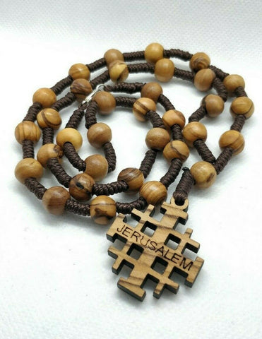 Hand made Olive Wood Necklace with Jerusalem Cross (plenty info in description)