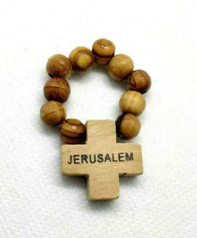 Olive Wood Finger Rosary Christian Prayer Beads, Hand Carved in Jerusalem