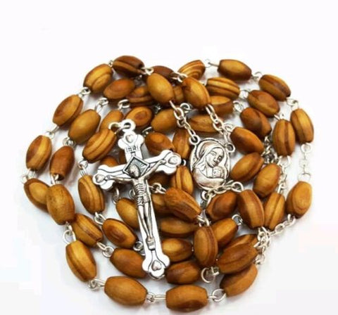 Olive Wood Catholic Rosary with Holy Land Soil from Jerusalem , FREE JERUSALEM BOX & Booklet