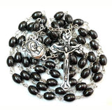 Stunning Hematite Natural Solid Stone Oval Rosary Beads , FREE ROSARY BOX & Free Booklet