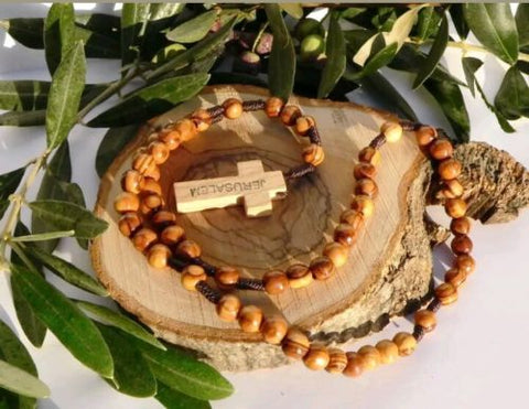 Hand Made Olive Wood Round Bead Rosary / Free Card Booklet ( How to pray the Rosary )