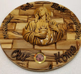 God Bless Our Home Olive Wood Wall Plaque With Ceramic Sacred Heart Of Jesus