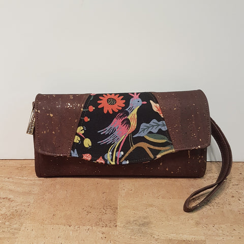 Chocolate Cork Clutch Wallet with Rifle Paper Bird