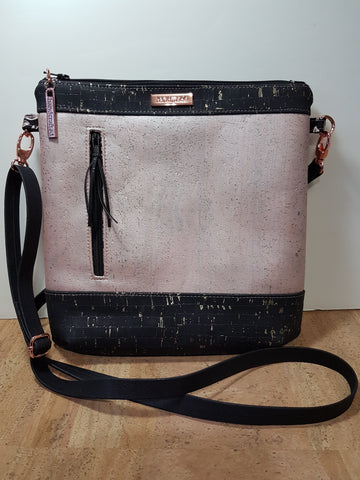Rose and Black Cork Sling Bag