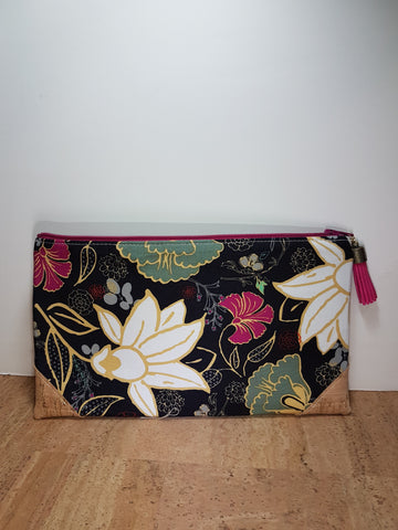 Basic Pouch - Natural Gold Cork with Night Flowers