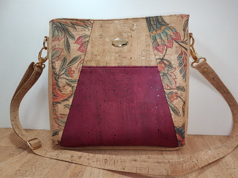 Cork Handbag, Jacobean and wine cork