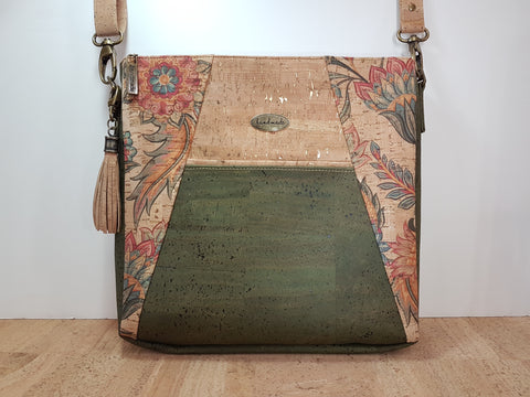 Cork Shoulder Bag in Jacobean and Green Cork