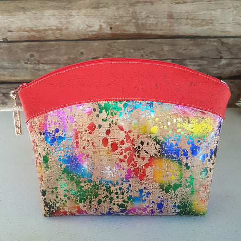 Makeup Bag Rainbow and Red Cork