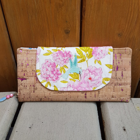 Slim cork wallet with Tilda hummingbird
