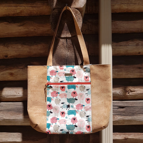 Tote Bag Teal Coral Sheep