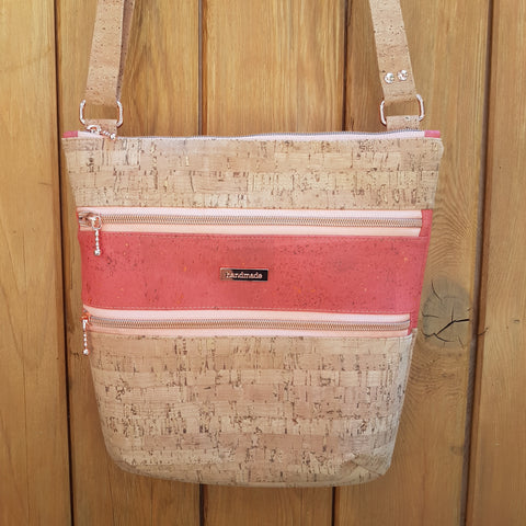 Crossbody Triple Zip Bag - Coral and Bamboo Style Natural Cork