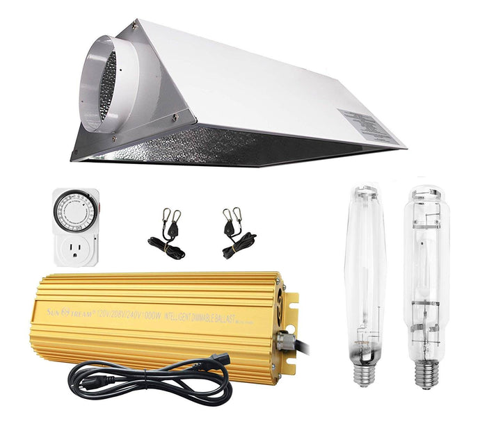 SunStream 1000w HPS MH Grow Light Bulb Digital Dimmable Ballast with Air Cooled Hood Reflector Set