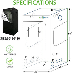 SunStream Grow Tent with easy-view Window for Indoor Plant Growing, Water-Resistant