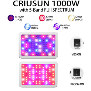 Criusun 1000W Optical Lens LED Grow Light, Full Spectrum Powerful Panel Plant Light with Bloom and Veg Switch for Professional Indoor Plants