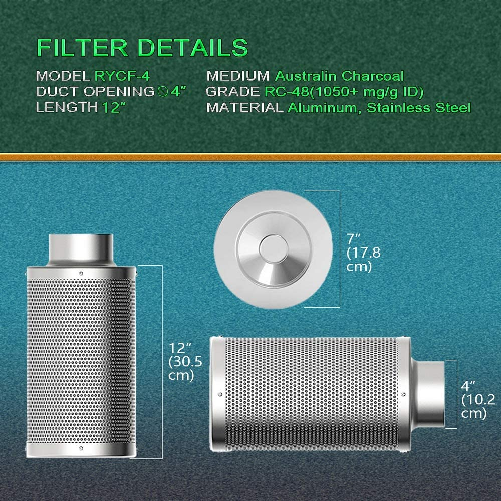SunStream Air Carbon Filter for Inline Fan, Premium Grow Tent Odor Scrubber Heating Cooling & Air Quality