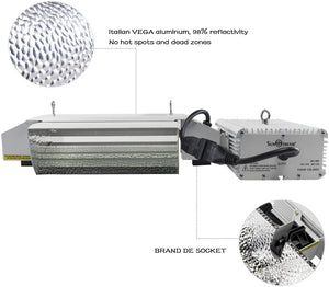 SunStream 1000 Watt DE Double Ended HID Grow Light System Kits with Controller Port, 2100K DE HPS Bulb, Open Style Reflector with 120-240V Digital Dimmable Ballast