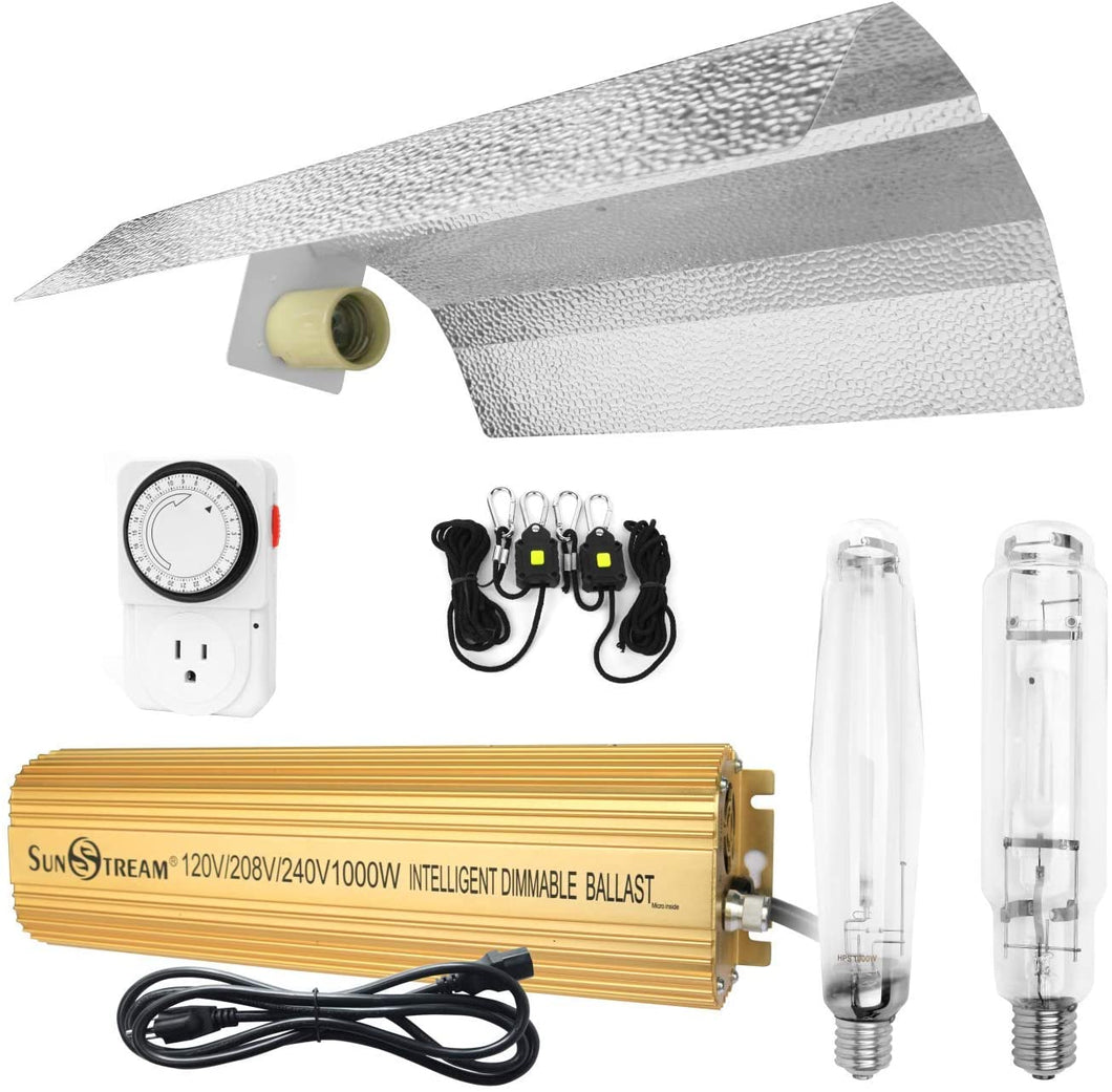 SunStream 1000 Watt HPS MH Digital Dimmable Grow Light System Kits Wing Reflector Set with Timer Single Ended