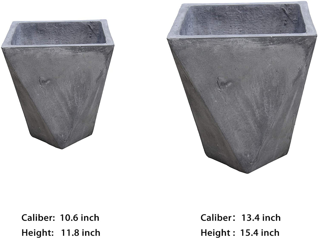 Sunstream 10-13 inches two combination sets of flowerpots, new magnesium mud breathable material, light and durable, environmental protection, degradable, pollution-free, indoor and outdoor balcony garden terrace flower pot