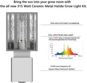 SunStream CMH 315W Ceramic Metal Halide CDM with 3100K Halide Bulb, horizontal Grow Light Fixture , ETL Listed, High-Reflectivity Vega Aluminum Hood, 120/240V Ballast, Full-Spectrum Hydroponic Grow Light and Suspension System